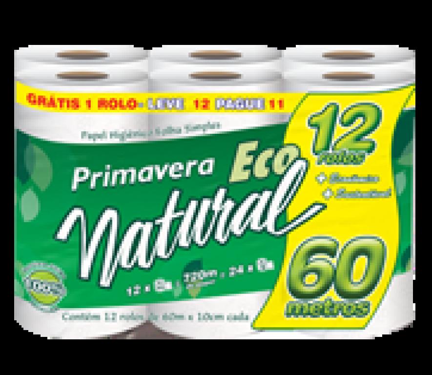 MANIKRAFT - PAPEL HIGIENICO PRIMAVERA ECO NATURAL 60M LEVE 12 PAGUE 11 - FD. 4X1